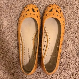 Adrienne Vittadini Shoes - Adrienne Vittadini Yellow Laser Cut Floral Flats